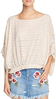 14c2bf70fd226 Free People Womens Azelea Crochet 3/4 Sleeves Pullover Top