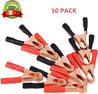 50A Clips Alligator Clamps,Terminal Test Electrical Battery Crocodile Clamp Black Red Copper Plated Metal Battery Insulated Alligator Clips 10PCS