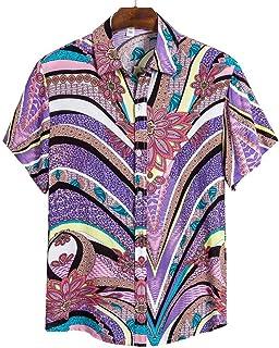 Camisa de Playa Camisa Hawaiana de Manga Corta para Hombres Blusa Informal de Verano con Estampado Floral para Hombres Blu...