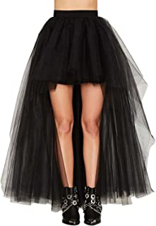 Womens Mesh Tulle High Low Tutu High Waist Dance Party Skirt