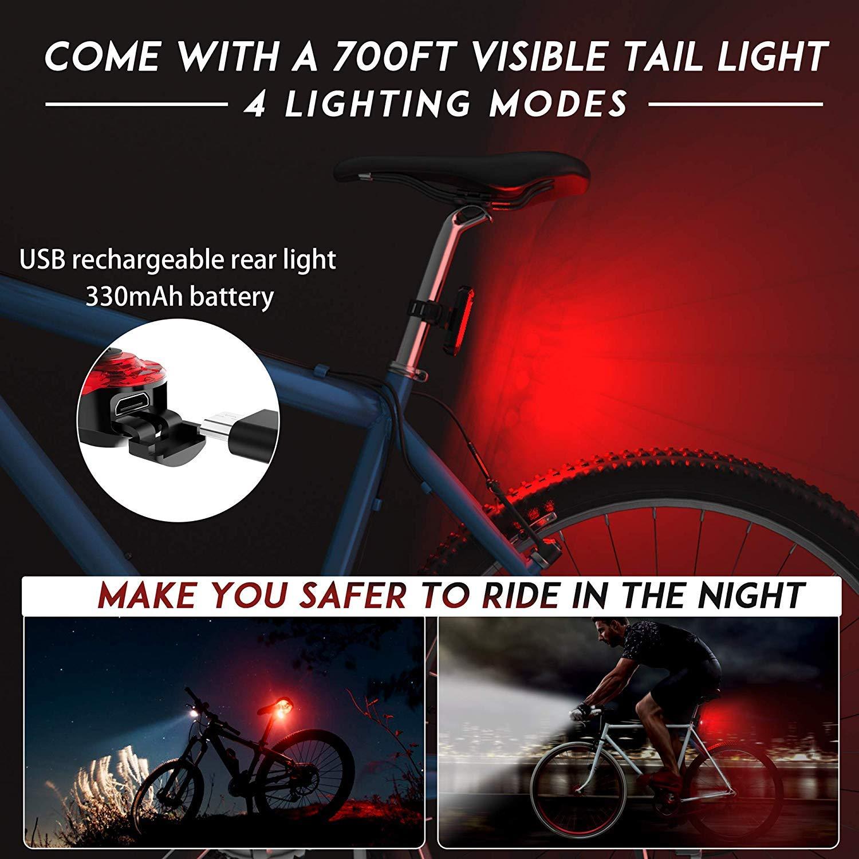 Bike Bicycle LED Head Rear Tail Light Set w// Turn Signal Indicator Lamp Horn FT