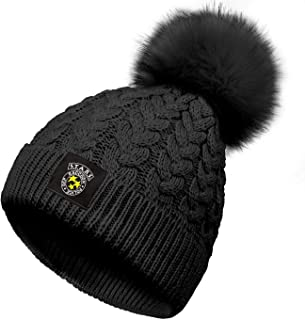 KSEERBABALL Womens Winter Knitted Resident-Evil Beanie Hat with Faux Fur Pom Warm Skull Umbrella-Corpo-Ration Cap