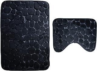 Aokarry Bathroom Accessories 2 Pieces Bath Rugs Set Shingle Black 80x50CM