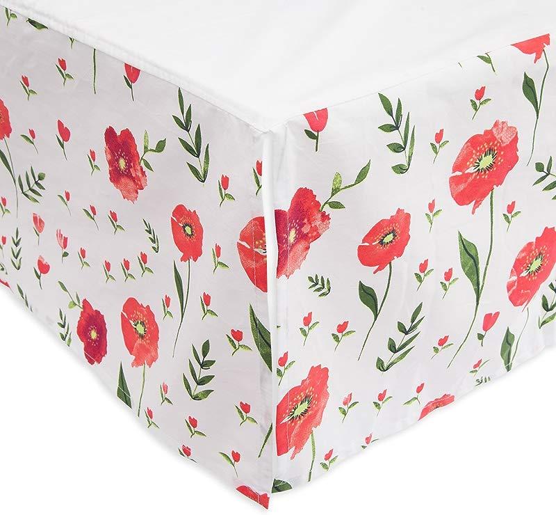 Little Unicorn Percale Crib Skirt Summer Poppy