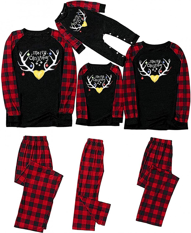 Matching Family Pajamas Sets Christmas PJ's Set Loungewear Plaid Top and Long Pants Sleepwear Sets
