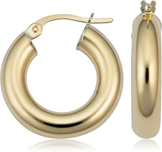 KoolJewelry 14k Yellow Gold 4mm Thick Polished Hoop Earrings (10 mm, 15 mm or 20 mm)