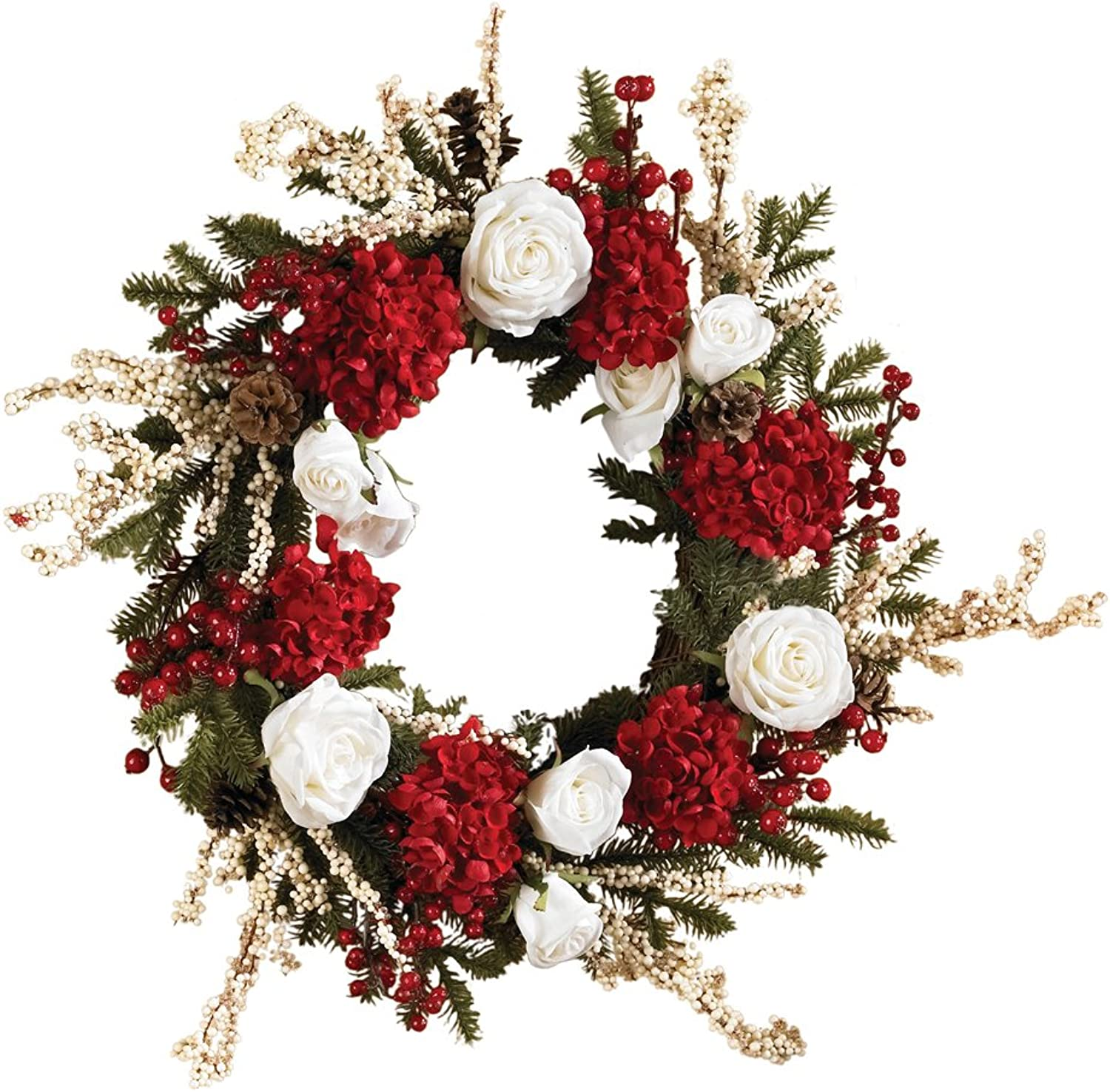 Nearly Natural 4899 Hydrangea with White pinks Wreath, 24-Inch, Red  White Green