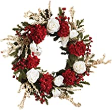 Nearly Natural 4899 Hydrangea with White Roses Wreath, 24-Inch, Red/White/Green