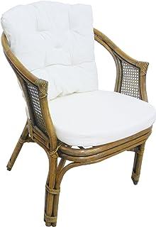 Sillón silla de mimbre Bambú Junco Vienna Rattan marrón Nogal con almohadas para casa habitación salón bar Bamboo