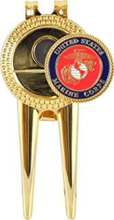 Golf By MilitaryBest US Marine Corps Divot Repair Tool with Magnetic Ball Marker