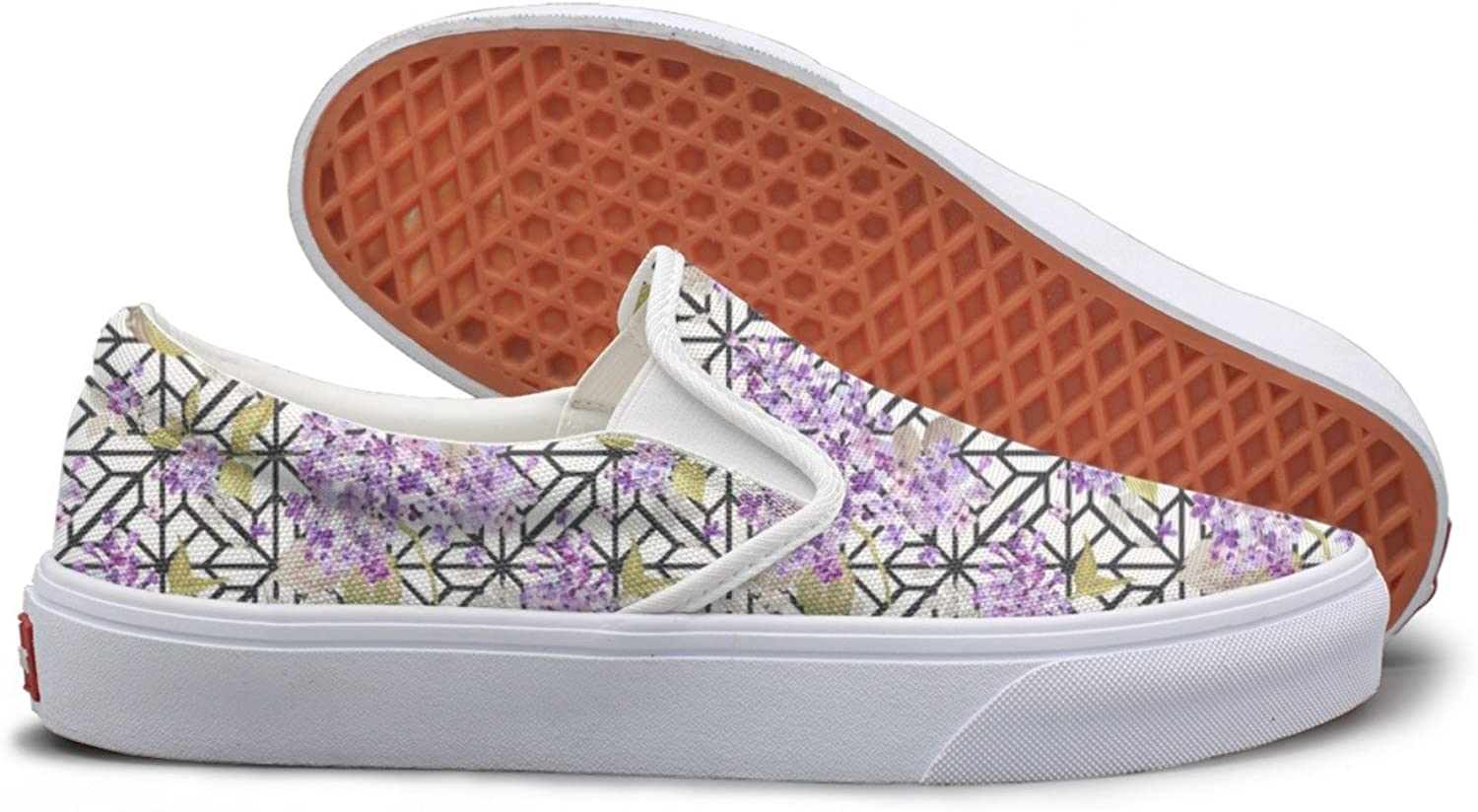 SEERTED Purple Wisteria Plant Top Sneakers for Women