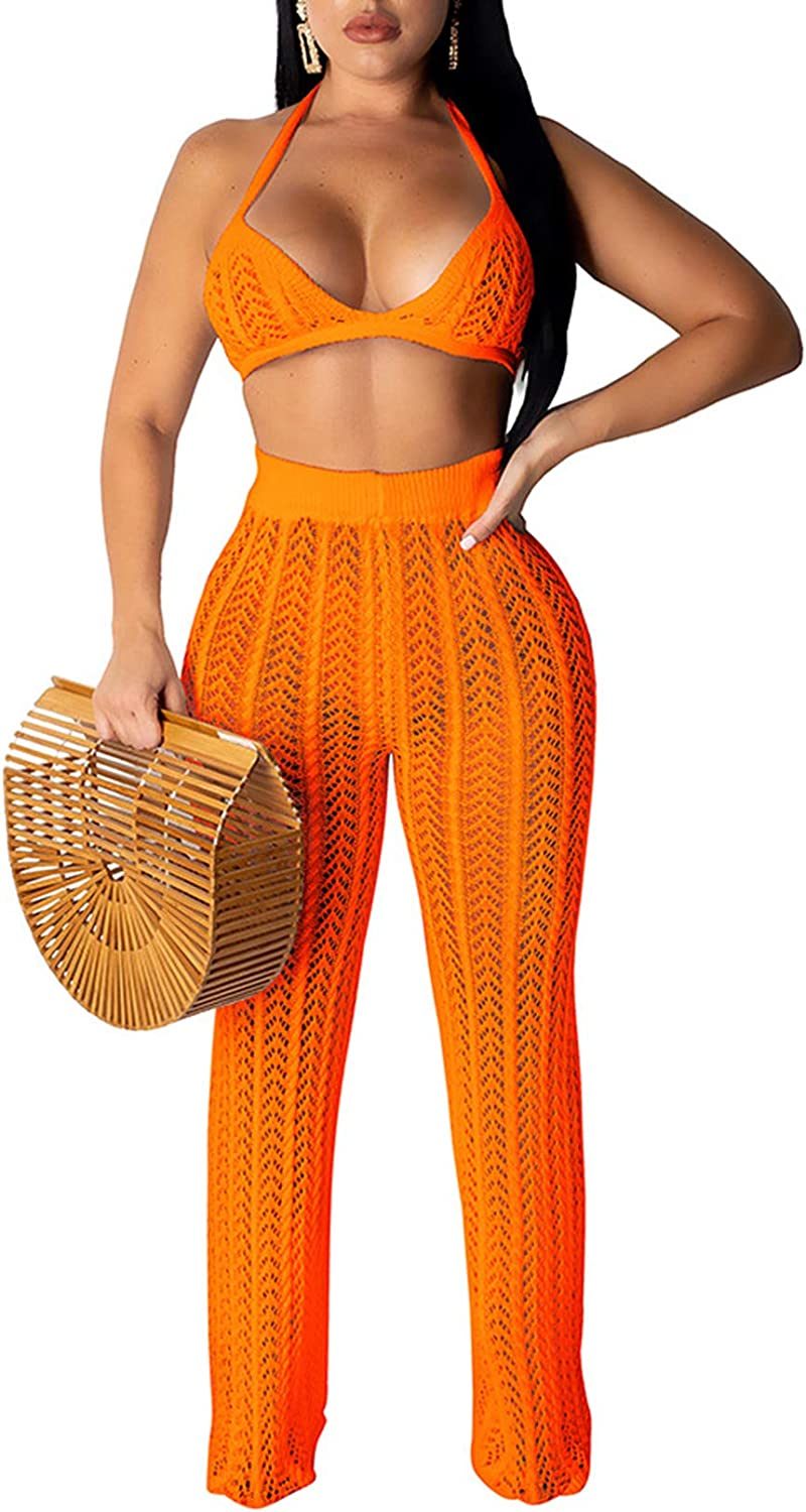 Salimdy Women Hollow Out Knitted See Through 2 Piece Outfits Halter Bandeau Top Long Pant Bikini Cover up