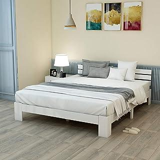 Pumpumly Lit double en bois massif certifié FSC avec tête de lit et sommier à lattes - 200 x 140 cm - Lit double utilisabl...
