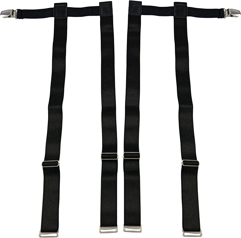 HOME-X Leg Garters for Men or Women, Non-Slip 11-19 Inch Adjustable Suspenders Black (Set of 2)