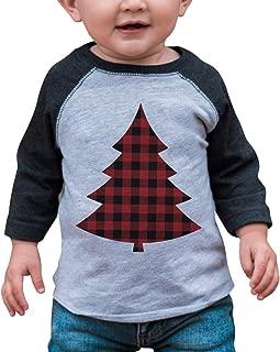 Kids Plaid Tree Christmas Grey Raglan Tee