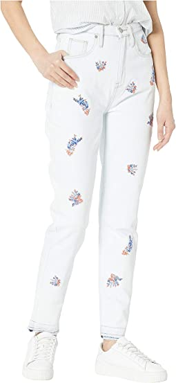 Denim Wildflower Embroidered Girlfriend Jeans