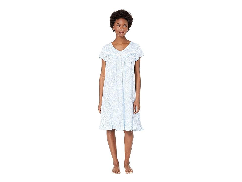 Eileen West Jersey Short Nightgown (White Ground/Paisley) Women