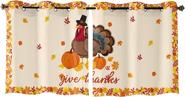 Grommet Window Curtains Super sale period limited Set Quantity limited of Turkey Pum Thanksgiving 2 Panels