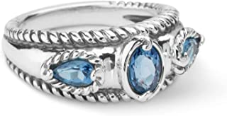 Sterling Silver Multi Gemstone Choice of 8 Colors Stack Band Ring Size 5 to 10