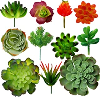 11 Pack Artificial Succulents Plant Fake Mini Succulents Unpotted Plant in Different Color and Size for Wedding Garden Home Arrangement DecorLandscape Decor