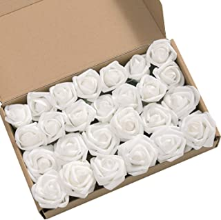 Ling's moment Roses Artificial Flowers 24pcs Realistic White Rose Buds and Petite Roses w/Stem for DIY Wedding Bouquets Centerpieces Boutonniere Corsages Flower Decorations