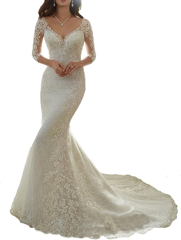 GURNALL Half Sleeves Mermaid Lace Appliques Wedding Dresses Bridal Gowns