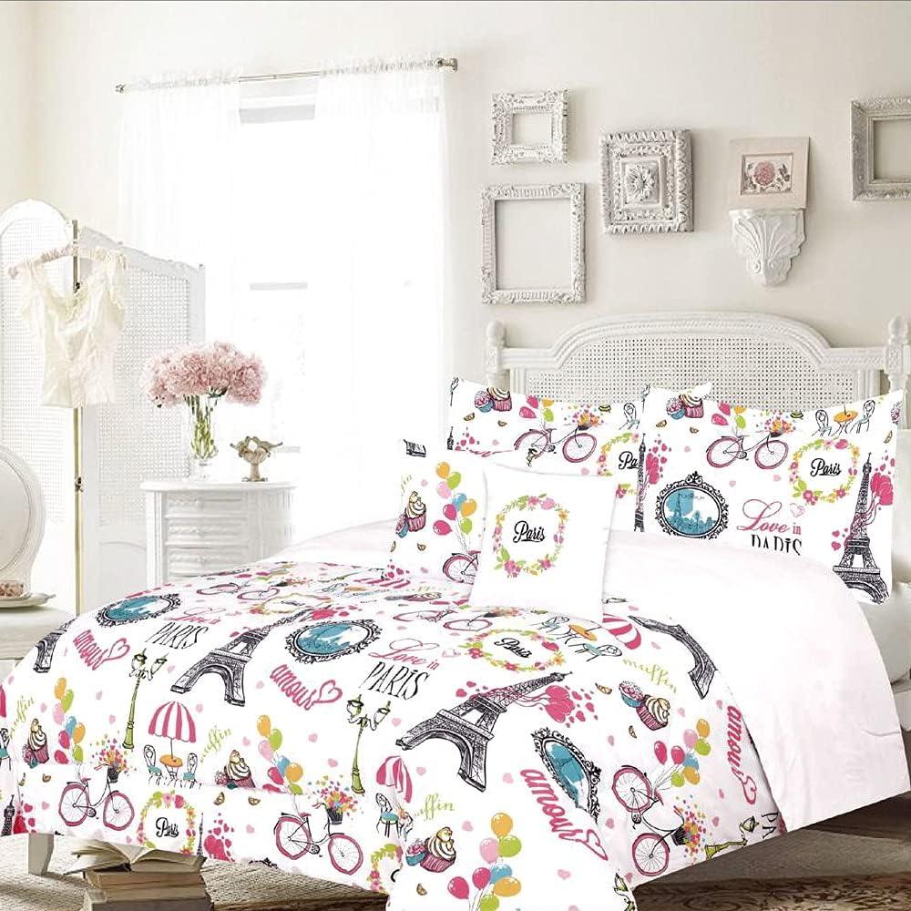 4-Piece 超定番 Twin Paris Comforter 開店記念セール Bedding Shams with Set and Decorati