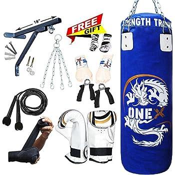 5FT Box-Tech Filled Heavy Punch Bag With Wall Bracket Bag Set Kick Boxing