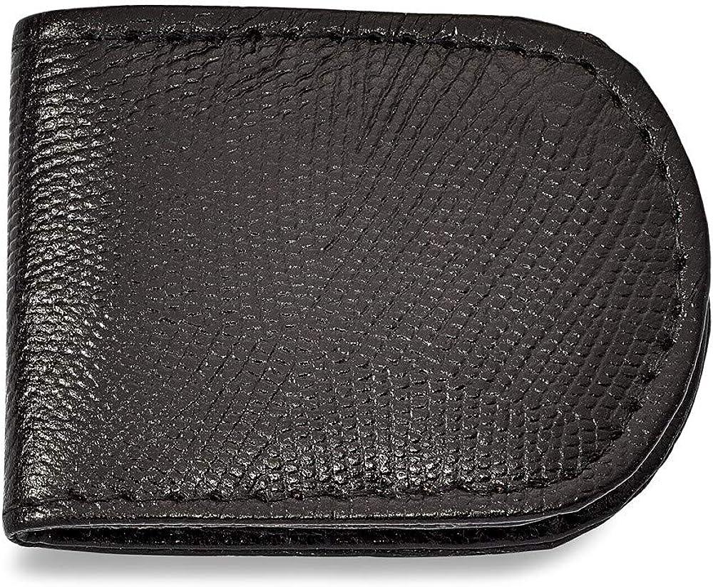 Solid Black Leather Lizard Grain Slim Business Credit Card Holder Money Clip 2.5