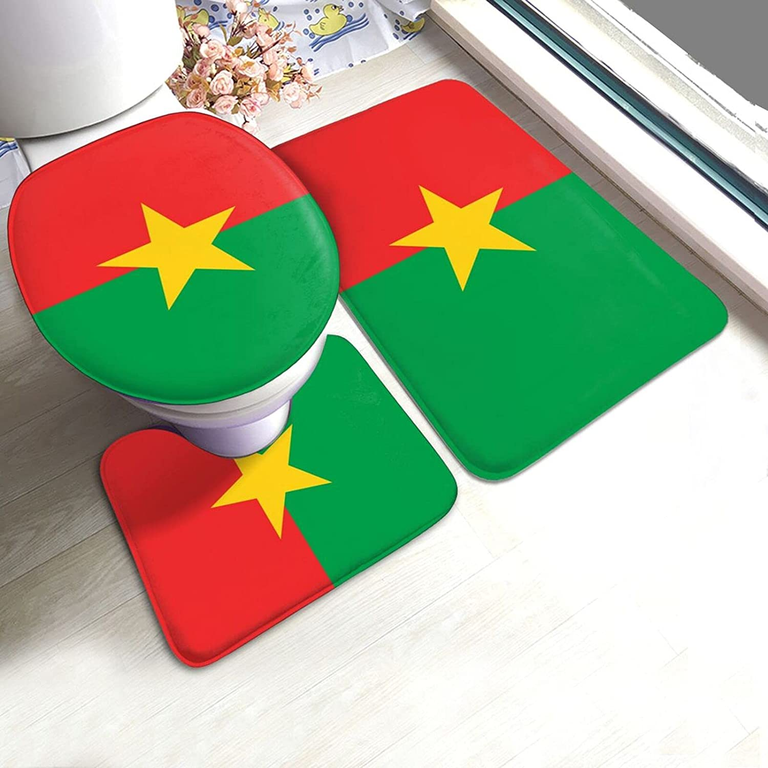 Burkina Faso Flag 3 Pieces Bathroom Rugs Luxurious Set Use Popular shop SEAL limited product is the lowest price challenge Flann