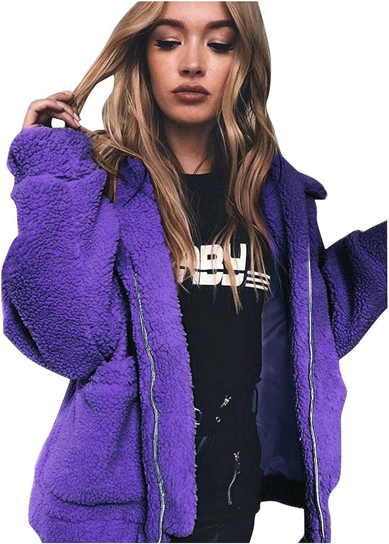 Afelkas Winter Coats for Women Faux Fur Warm Loose Jacket Zip Up Solid Color Blouse Furry Lapel Oversized Outerwear