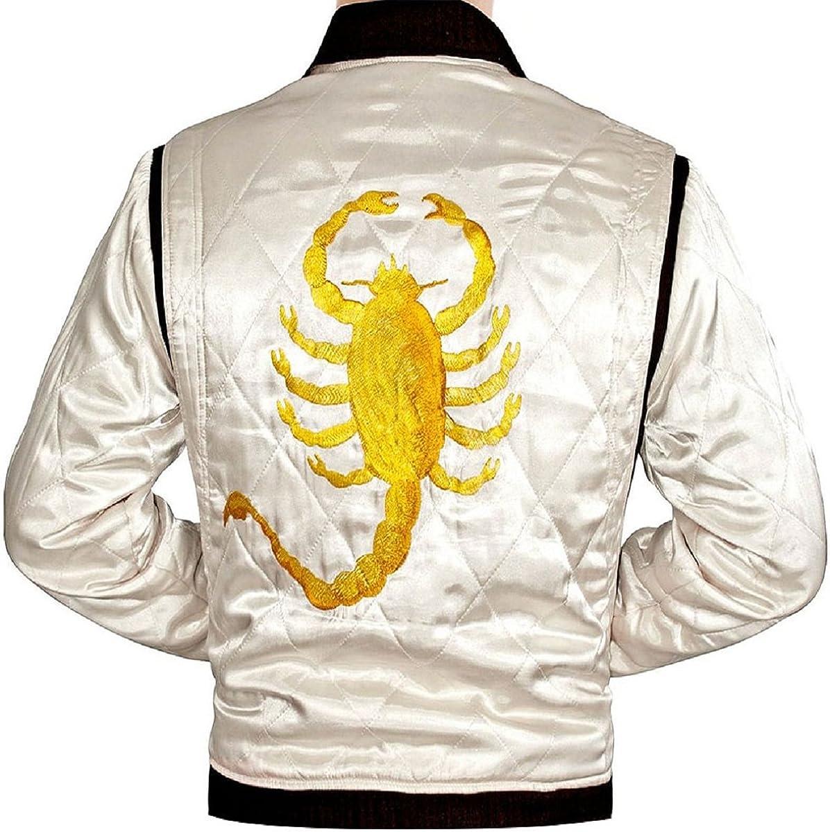 LP-FACON Mens Scorpio Logo Satin Now free shipping Bomber Black Max 83% OFF White Jacket