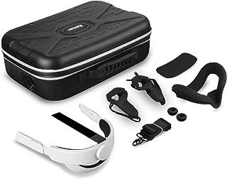Vakdon 7en1 VR Étui de Transport, pour Oculus Quest 2 Casque, étui de Protection + K3 Sangle de Tête + Silicone VR Face Co...