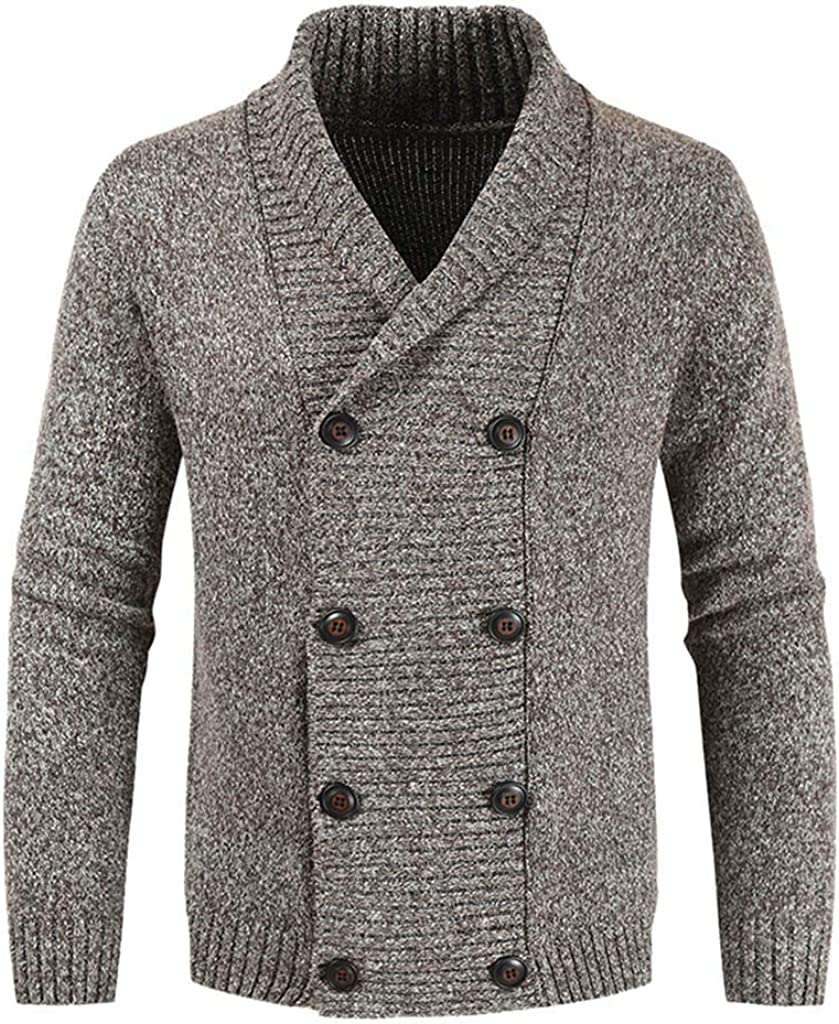 Uqiangy Mens Classic Business Solid V-Neck Double-Breasted Knitted Shawl Sweater Suit Trench Jacket