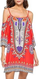HAALIFE◕‿Women's Tribal Print Kimono Sleeve Geometric Tunic Boho Dress