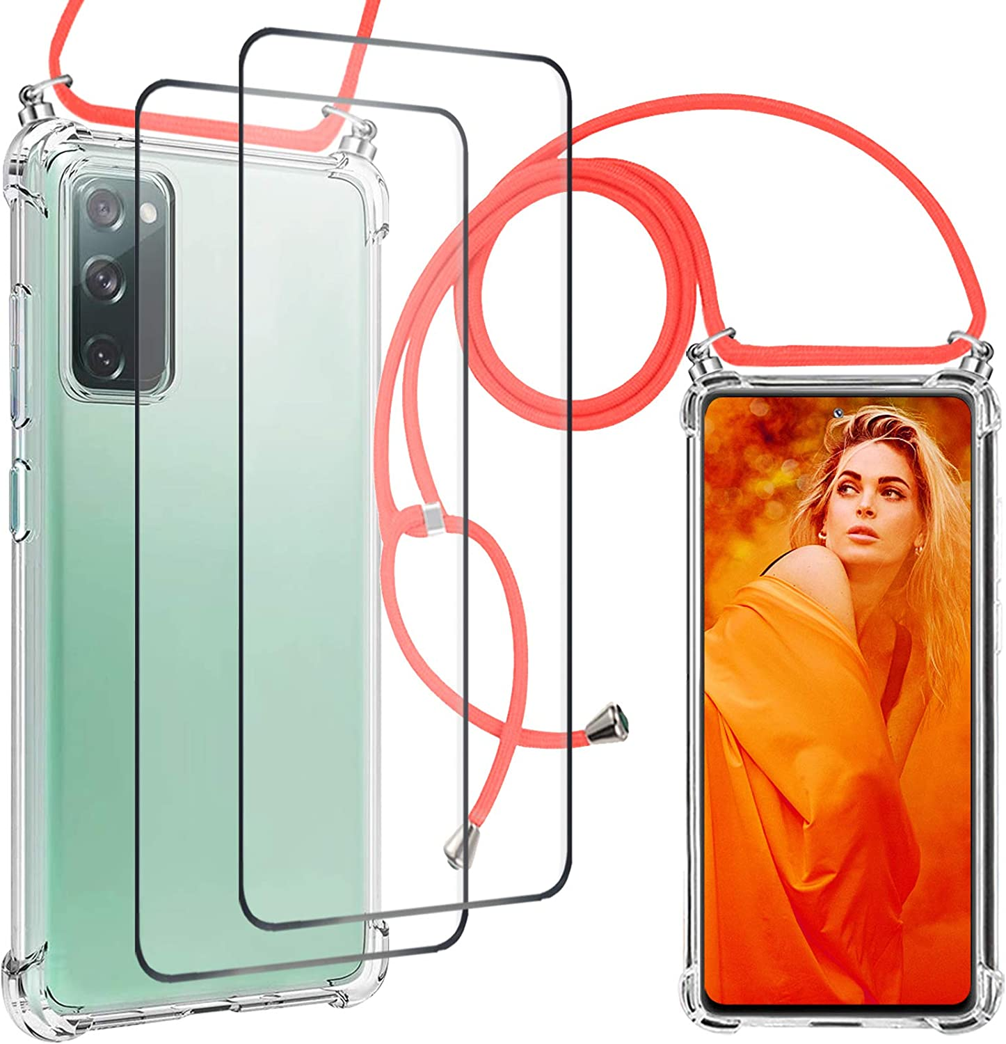 S20 FE 5G Case with Screen Protector Strap Crossbody Compatible with Samsung Galaxy S20 FE 5G Case with Lanyard Clear Transparent TPU Phone Cases Tether Safety Strap Cell Phone Cover