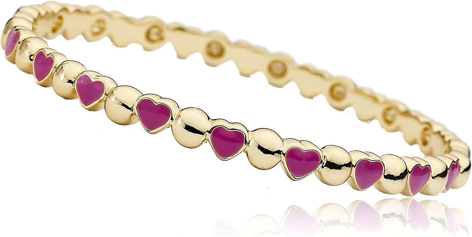 Little Miss Twin Stars Stackable Stunners Alternating 14k Gold-Plated Circles & Hot Pink Hearts Bangle