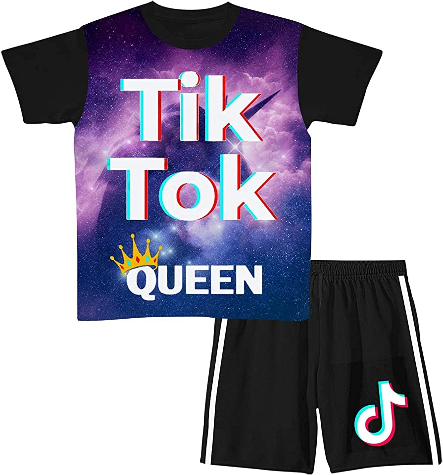 Ti-k T-ok Short Sleeve T-Shirt & Shorts Sets Shorts Suit 2 Pieces Summer Casual for Boys Girls