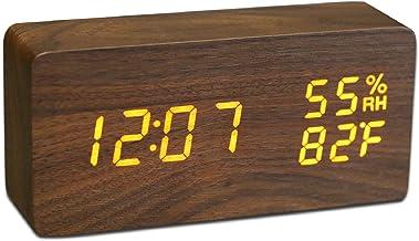 JCHORNOR Wood Digital Alarm Clock, Led Time Display Wooden Digital Desk Clock with 6 Level Warm Brightness, Temperature, H...