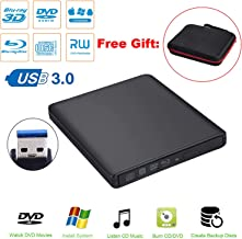 Guamar External Blue-Ray Drive,USB 3.0 Blu-Ray CD/DVD Burner/Writer with 3D Blu-ray Disc Playback for Mac/MacBook Pro/Air/iMac/Windows 10(with User Manual)