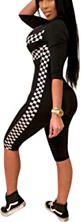 Bluewolfsea Women's Fashion One Piece Plaid Striped Bodycon Zipper Jumpsuit Skinny Romper Playsuit Short Sleeve