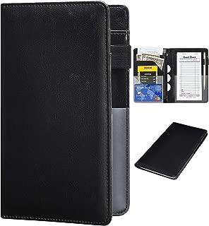 Server Books for Waitress - R64 Leather Waiter Book Server Wallet with Zipper Pocket, Cute Waitress Book&Waitstaff Organizer with Money Pocket Fit Server Apron(R64 Black)