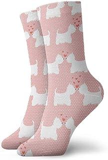 AEMAPE, Calcetines Casuales Lindos y encantadores West Highland Terrier Parejas Siluetas con Corazones Calcetines Deportivos con Estampado de Lunares