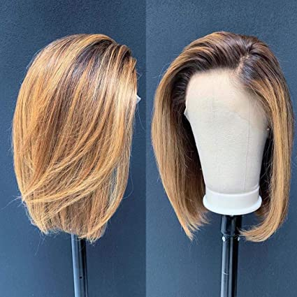 Ombre Color 4/27 Lace Front Wigs Human Hair For Women Short Bob 13x6 Deep Part Lace Front Human Hair Wigs Pre Plucked Density 150% (12inch) …