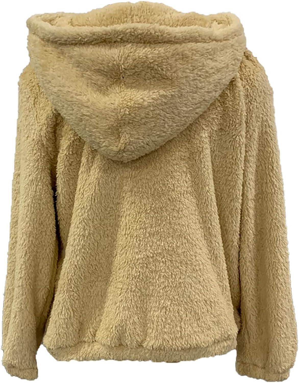 Women's Hooded Pullover Long Sleeve Fleece Winter Sweatshirt Solid Drawstring Plush Hoodies Tops Tee Shirt with Pocket