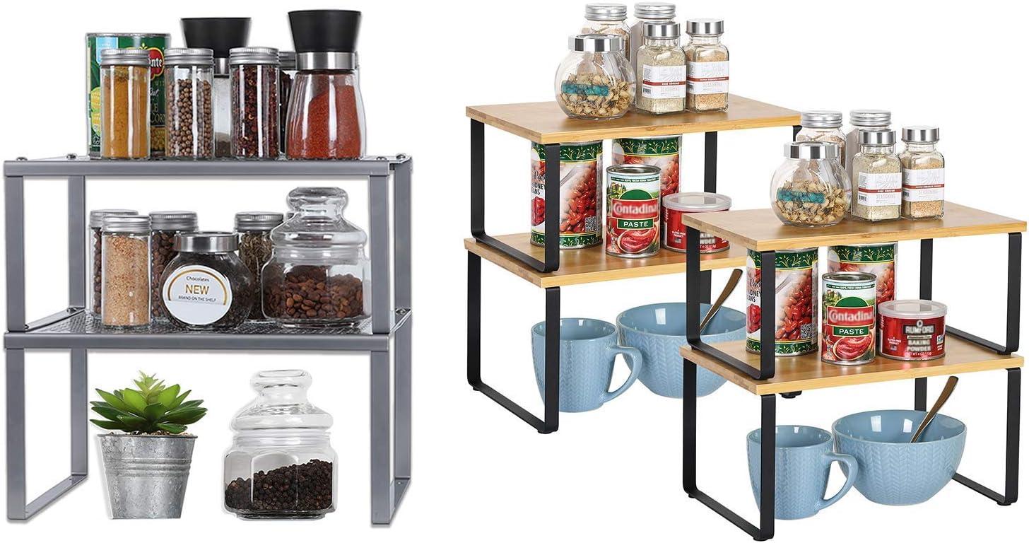 NEX Metal + 2Bamboo Total Set of for Max 88% OFF Shelf 3 Kitchen Organizer Cheap