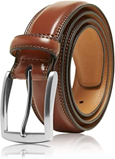 Genuine Leather Dress Belts for Men - Mens Belt for Suits, Jeans, Uniform with Single Prong Buckle - Designed in The USA