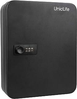 Uniclife Key Cabinet 48 Key Lock Box Steel Security Safe Box with Combination Lock, Black
