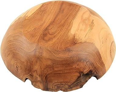 """ANDALUCA Rustic Teak Wood Hand Carved Organic Bowl (11""""-12"""" Diameter)"""