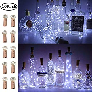 Wine Bottle Lights with Cork, 10 Pack Fairy Lights Battery Operated LED Cork Shape Copper Wire Fairy Mini String Lights for Bedroom DIY Party Wedding Gift Decor Cool White (Bottle not Included)